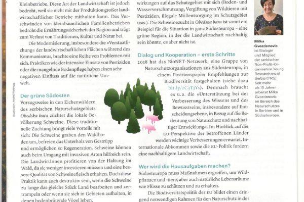 Obedska bara kao primer za održivu poljoprivredu – tekst u dodatku dnevnih novina Die Presse