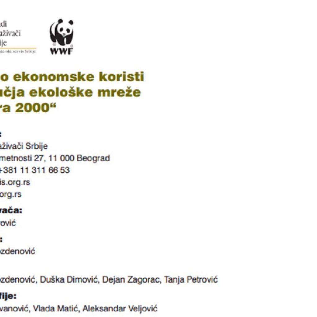 Socio ekonomske koristi područja ekološke mreže Natura 2000